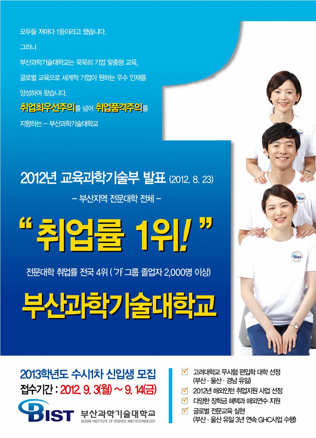 2012 부산지역 취업률 1위